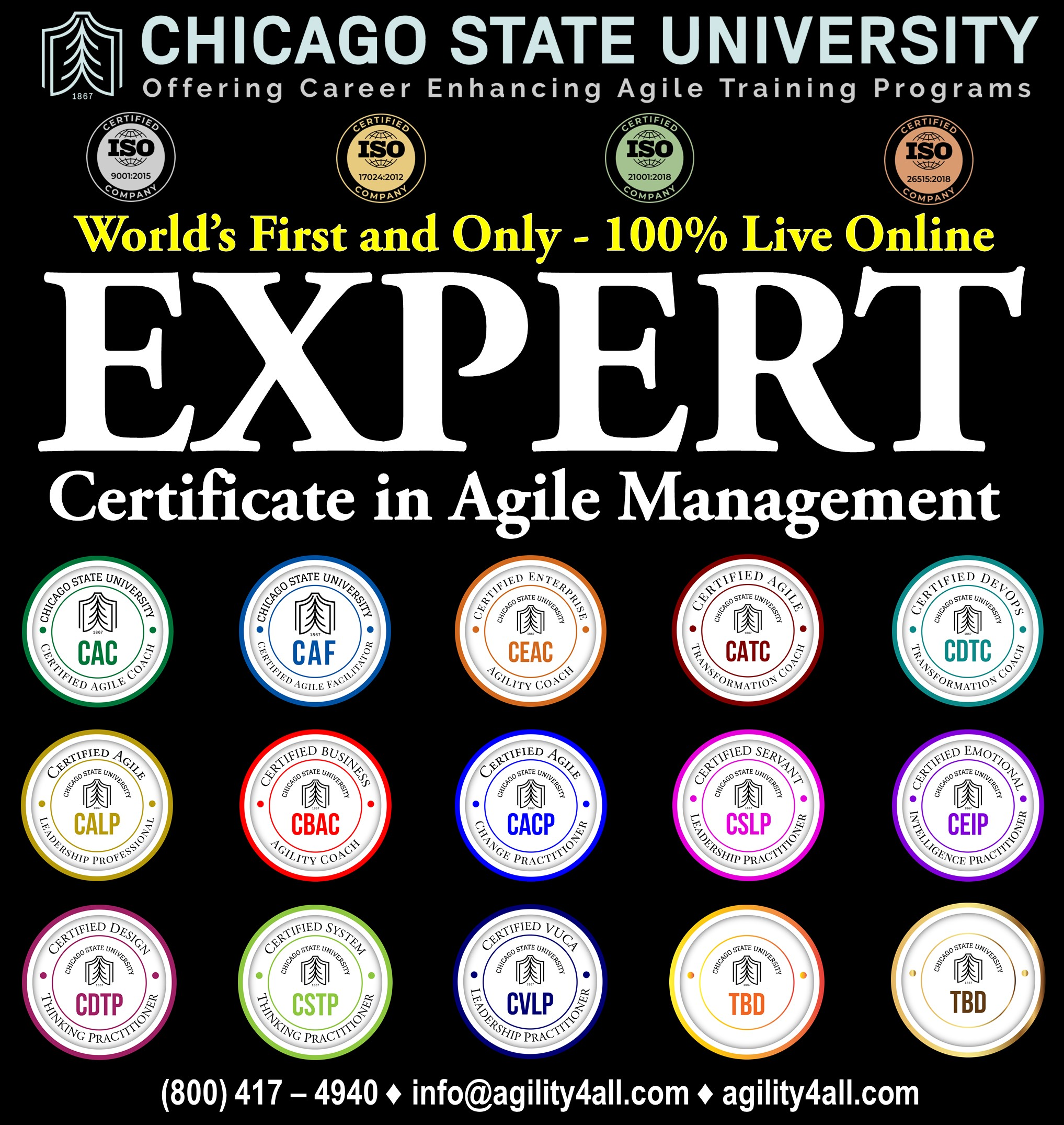 Expert Certificate in Agile Management (ECAM) from Chicago State University